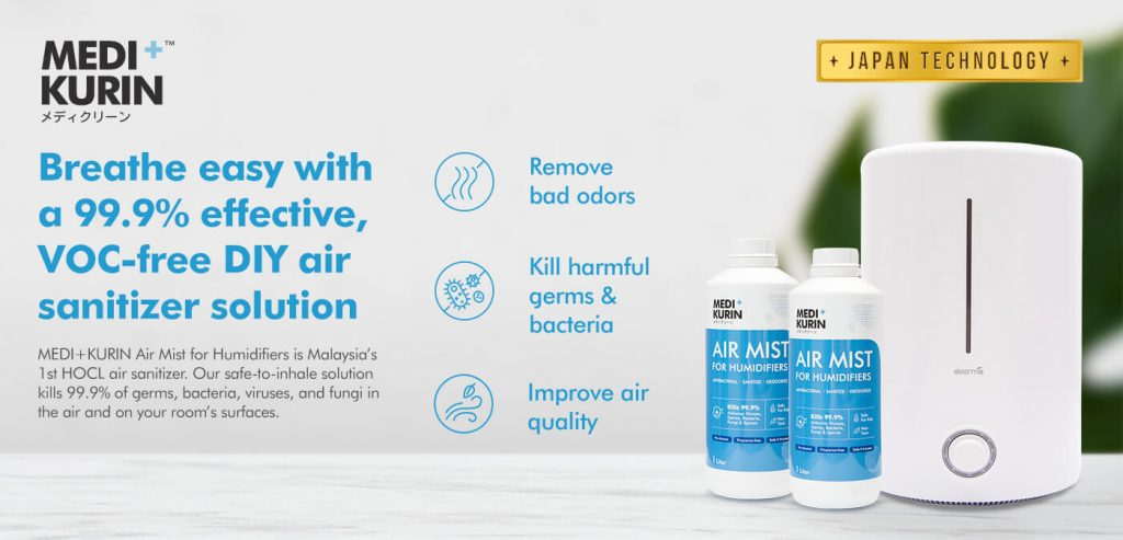 MEDI+KURIN HOCl Air Mist for Humidifiers Kills Harmful Germs and Bacteria